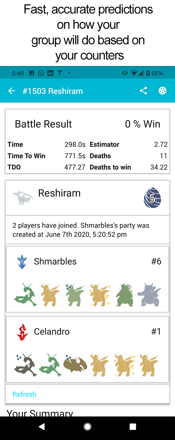 Pokebattler Raid Party - Group result