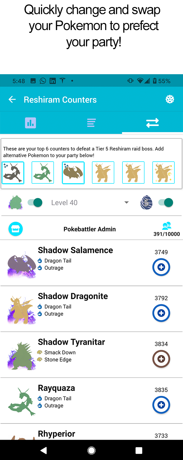 Pokebattler Raid Party - Raid Counters